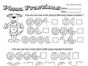 improper pizza a year 5 fractions worksheet