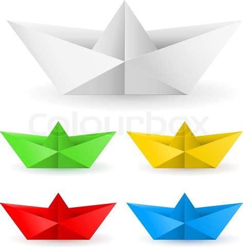 Origami Paper Boat - origami paper boat stock vector colourbox