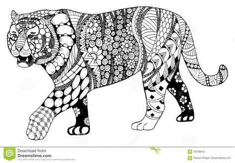 pattern drawing tiger tiger chinese zodiac sign zentangle stylized vector