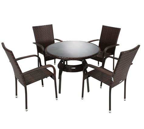 Wicker Dining Table Set Charles Bentley Rattan Dining Set Table And 4 Armchairs Wicker Set Brown Ebay