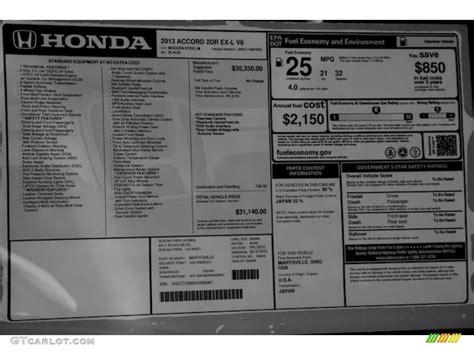 Honda Accord Sticker by 2013 Honda Accord Ex L V6 Coupe Window Sticker Photo