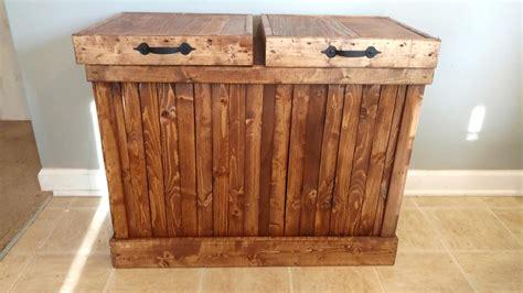 double trash recycling bin wood recycling bin double trash can double garbage can rustic