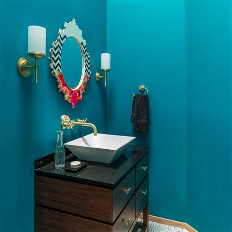 teal powder room teal powder room modern powder room raleigh by tew