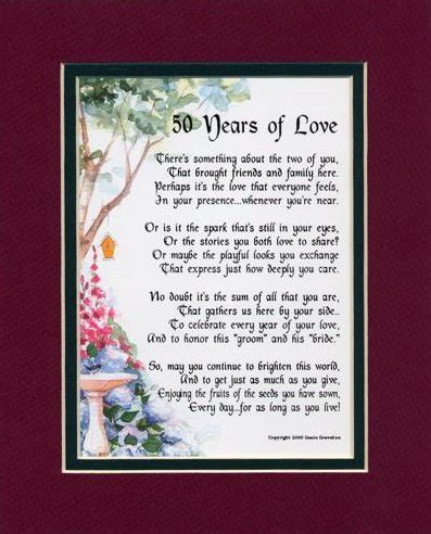 50th wedding anniversary poems 50th wedding anniversary quotes