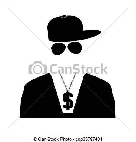 can stock photo clipart rap singer illustration in black color vector clipart