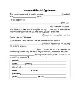 Renting Agreement Template by Sle Rental Lease Agreement 9 Free Documents In Pdf Word