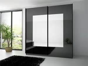 chambre armoire 2 portes coulissante noir