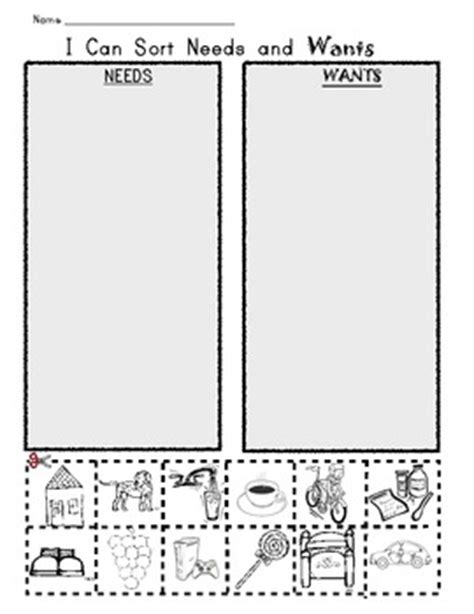 kindergarten activities needs and wants i can sort needs and wants picture worksheet