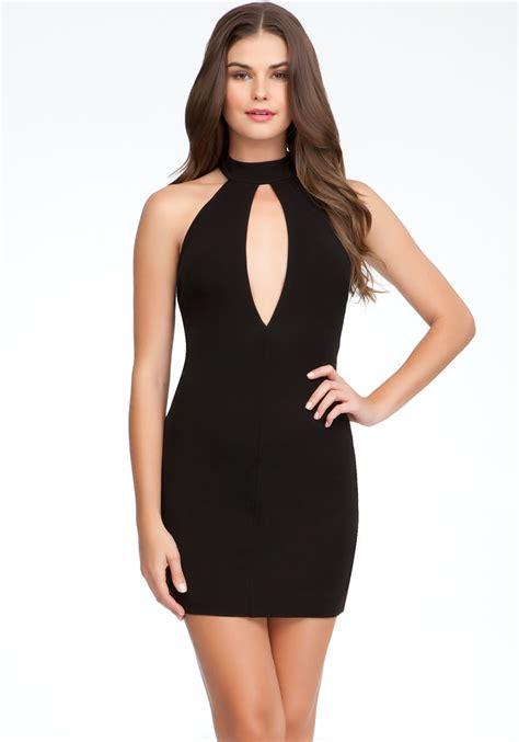 Sale Dress Bebe Halter 1 bebe keyhole front halter dress in black blk lyst