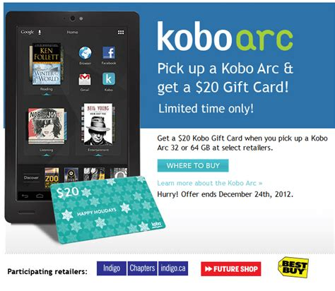 Where To Buy Kobo Gift Cards - kobo mini 49 99 or get 20 kobo gift card with kobo arc canadian freebies coupons
