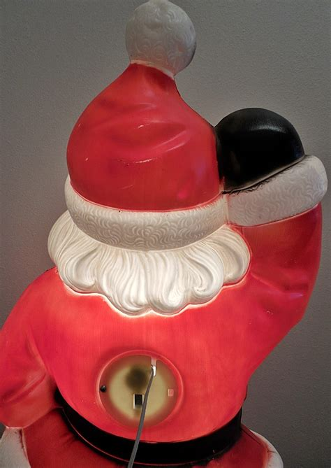 light up santa claus hard plastic blowmold 40 quot christmas santa claus outdoor