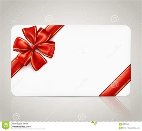 present card template gift card with ribbon bow stock vector image 60179038
