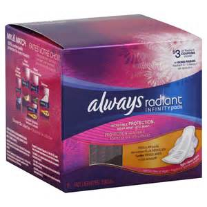 Always Radiant Infinity Procter Gamble Totally Radiant Infinity Pads 14 Ct
