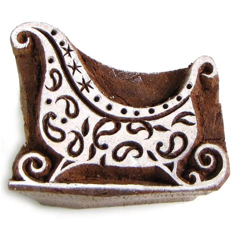 sting sleigh solid wood block ink st 2in handmade