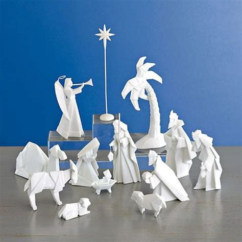 Origami Manger - porcelain origami nativity set nativity sets