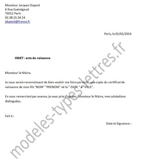 Demande Acte De Naissance Lettre Modèle Lettre Type De Demande D Acte De Naissance