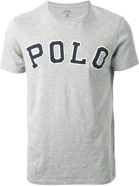 pemborong tshirt polo ralph lauren lyst polo ralph lauren logo appliqu 233 t shirt in gray for men
