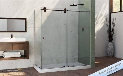 minimalist bathroom with frameless sliding alumax shower