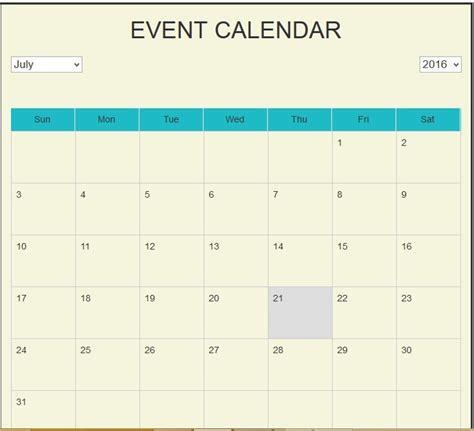 Asp Calendar Calendar Exle In Asp Net Using C Calendar Template 2016