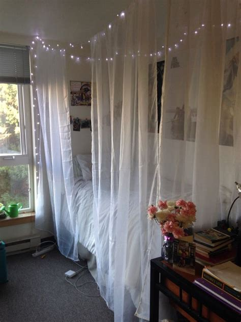 Sheer Curtains For Canopy Bed Diy Room Canopy Bed 4 Sheer Curtains 3 Command Ceiling Hooks String And Easy