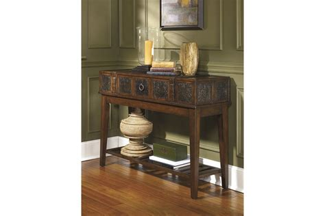 mckenna sofa table mckenna sofa table in dark brown by ashley at gardner white