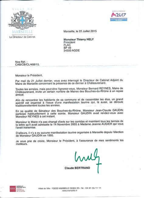 lettre officielle au maire flac anticorrida jean claude gaudin r 233 pond 224 la flac mais
