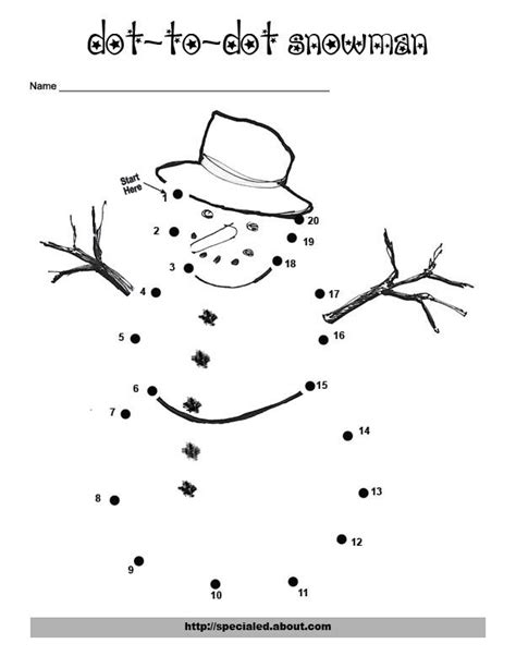 Printable Dot To Dot For Christmas | an easy free printable snowman dot to dot for christmas