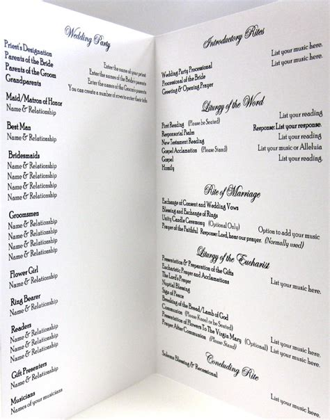layout order of service wedding catholic wedding program idea clean and simple layout