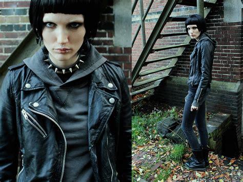 dragon tattoo jacket chokelate pixie cut wig zara leather jacket h m the