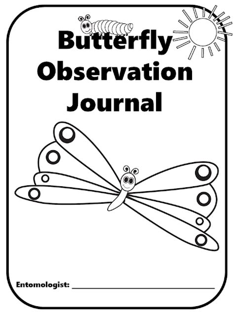 printable caterpillar observation journal colors and kindergarten