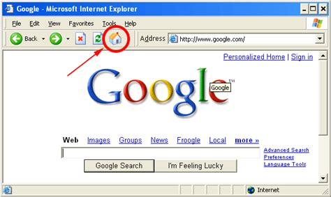 earthnet support center how to set your browser s home page