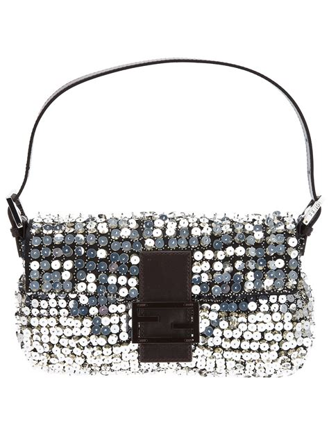 Fendi Sequined Zucca Satin Baguette by Lyst Fendi Sequin Baguette Bag In Metallic