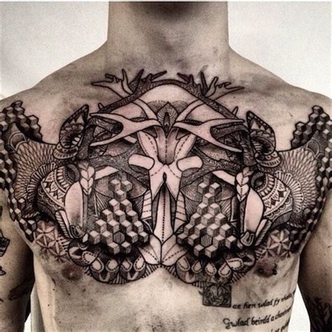 geometric tattoo on chest 50 awesome chest tattoo designs for men