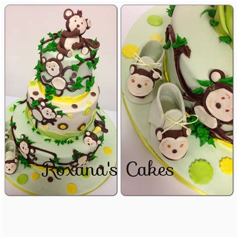 Monkey Baby Shower Theme by Baking With Roxana S Cakes Baby Shower Cakes Monkey Theme