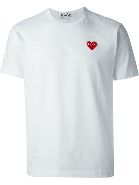Tshirt Kaos Play Cdg 3 comme des gar 231 ons play embroidered t shirt comme des