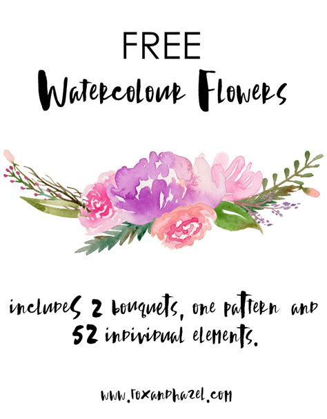 free printable watercolour flowers free watercolor flower graphics from fox hazel