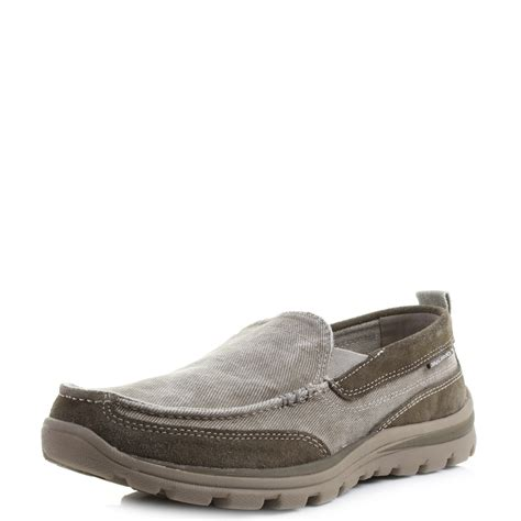skechers loafers for mens skechers superior melvin taupe slip on canvas loafers