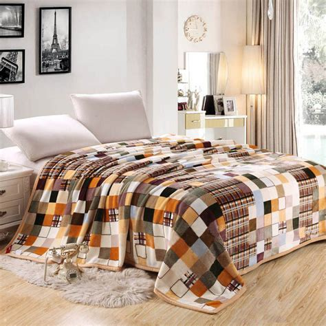 King Blanket On Bed by California King Size Coral Fleece Fabric Colorful Plaid
