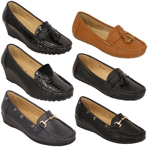 designer womens loafers loafers shoes kelsi wedge slip on leather look