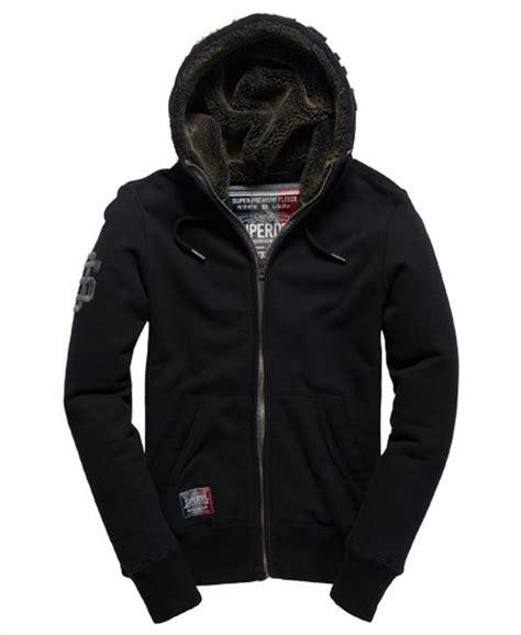Superdry Black Leather List Grey mens applique sherpa lined zip hoodie in black grey