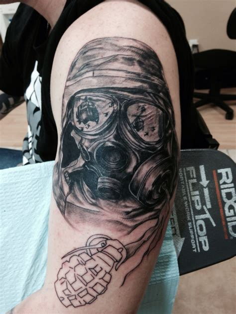 gas mask tattoo oliver kalkofen gas mask tattoos