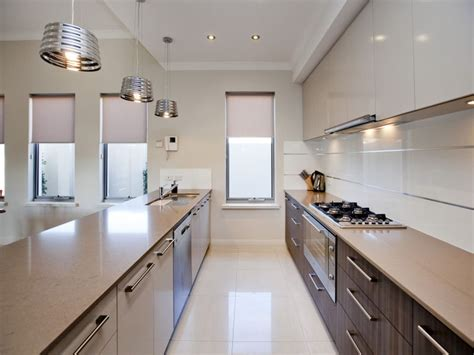 modern galley kitchen design using polished concrete