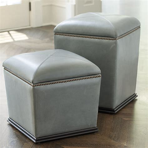 Leather Storage Stool Tapered Leather Storage Stool Chair Height Traditional