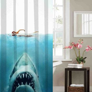 jaws shower curtain best shark curtain products on wanelo