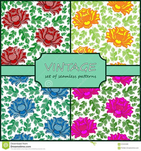 a seamless repeating retro floral seamless vintage floral background collection vector