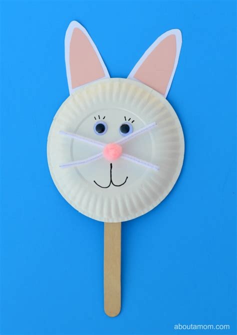 Paper Plate Craft Work - easter bunny puppet craft about a