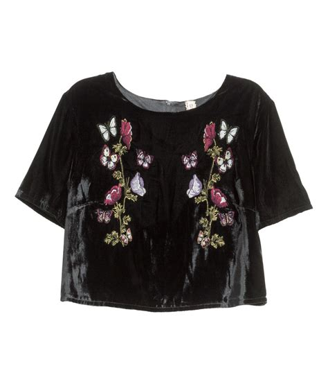 h m embroidered velvet top in black lyst