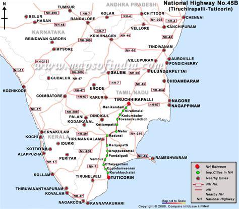 road map direction driving national highway 45b tiruchhirapalli to tuticorin road map