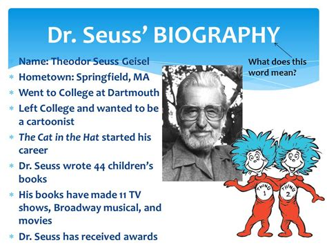 biography book names the life of dr seuss ppt video online download