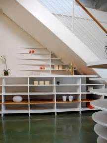 Shelves beneath the stairs stylish wooden bookshelf under the stairs